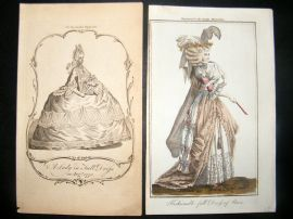 Lady's Magazine 1770 Pre Regency Prints (2) The First English Fashion Plate RARE